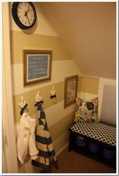 "Mini ""Mudroom"" out of a storage coset.  Right now we have a closet just like this and it is SCARY how it looks!  This is a great idea too bad we're moving soon.  Oh well, idea for the next place!"
