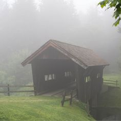 covered bridge + fog, waterbury, vermont | travel destinations in the united states + architecture #wanderlust
