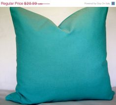 ON SALE 20x20 Linen Pillow Cover. Aqua Pillow by CidaliaDesigns, $18.89