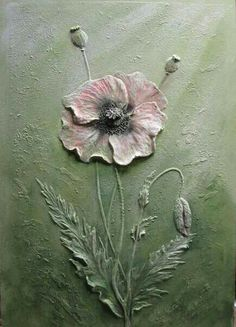 Mohnblüte malen lernen Poppies acrylic painting demo part 1 Plaster Art, Plaster Walls, Sculpture Painting, Wall Sculptures, Gun Art, Creation Deco, Mural Art, Mixed Media Canvas, Texture Painting