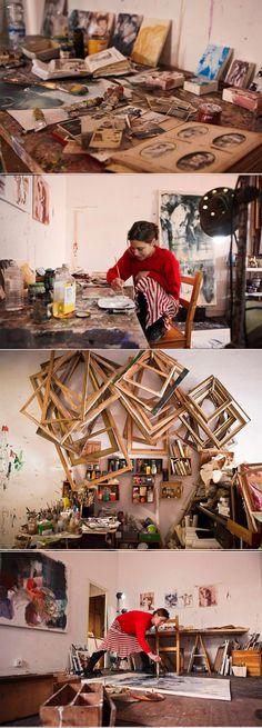 Anna McNeil - inside the studio - saatchi art news Atelier Photo, Atelier D Art, Home Music, Art Studio Design, Studio Art, Studio Organization, Dream Studio, Painting Studio, Floating