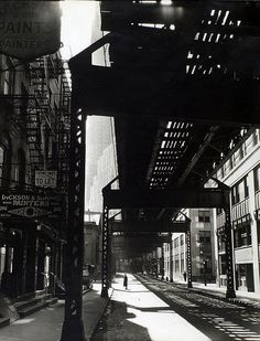 """""""el"""" 2nd and 3rd ave lines nyc 1936 : berenice abbott"""
