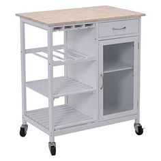 Portable Kitchen Rolling Cart Faux Marble Island Utility Cabinet White Xmas Gift #Giantex