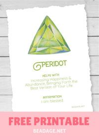 Peridot Free Printable Gemstone Properties Card #gemstones #crystals