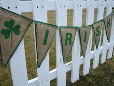 Upcycled Burlap Banner IRISH (Green Painted Letters with Green Felt Backing) Eco-Friendly St. Patricks Day Decor Endure Upcycled Designs by Karen Yaremkewich Handmade ~ One-of-a-Kind ~ Eco-Friendly Burlap Wedding or Home Decor Bunting made using reclaimed Coffee Bean Bags from our local coffee roaster, Galileo Coffee Company. Stencilled by hand with green painted letters and shamrock motif. Stitched securely onto a green felt backing with a zig-zag stitch. Each letter pennant measures ...