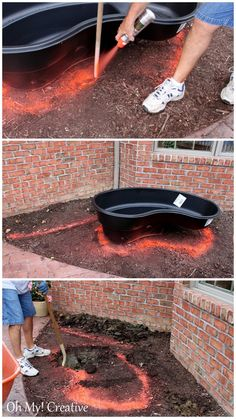 digrams of pond water fall elavations | We marked the shape of the pond and a rough area for the wall with ...