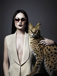 """Erin Fee for Vogue Italia March 2012 """"Wild Eyes"""" editorial Photographer: Douglas Friedman Hair Stylist: John Ruggiero Make-Up Artist: Maud Laceppe """" Crazy Cat Lady, Crazy Cats, Cat Photography, Fashion Photography, Fashion Shoot, Editorial Fashion, Fashion Art, Serval Cats, Siamese Cats"""
