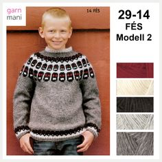 29-14 FÉS Modell 2 - Garnmani.no - Spesialist på islandsk ull Fes, Ravelry, Men Sweater, Pullover, Sweaters, Black, Fashion, Moda, Black People