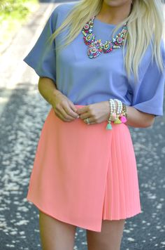 Pleated Skirt...the peach is nice, but I rather have it in Indigo, Turquoise or Periwinkle Blue.