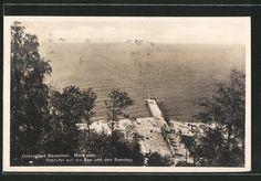 tolle AK Rauschen, Blick vom Steilufer auf die See & den Seesteg 1933