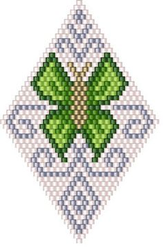 """Peyote Pod """"Green Butterflies"""" Pattern 25 rows is a fun pattern to make.This is NOT for a BEGINNER. This is an advanced pattern. - Peyote Pod Green Butterflies Pattern 25 rows is a fun pattern to make.This is NOT for a BEGINNER - Beaded Earrings Patterns, Seed Bead Patterns, Beading Patterns, Bracelet Patterns, Color Patterns, Embroidery Patterns, Knitting Patterns, Loom Bracelets, Bead Earrings"""
