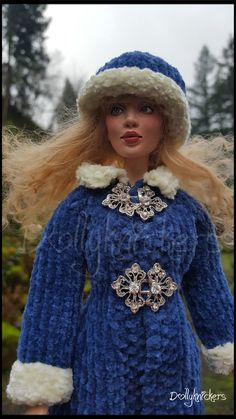 Close up of the chenille maxi coat and hat set.  This shows the lovely clasps with crystals.