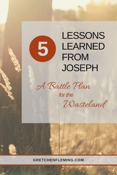 5 lessons learned from Joseph to a Battle Plan for the Wasteland. I began to incorporate his life-saving, hope-filled lessons. And little by little, I began to make the most of my wasteland, until one day I realized, I was not in it anymore. Bible study in the book of Genesis.