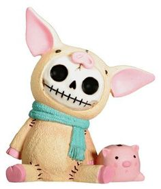 Furrybones Bacon Pig Figurine with Little Piggy Bank