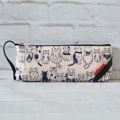 Pencil Case Lined Cats Imported Zipper Pouch