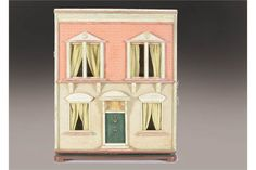 Lot 254 - A G & J Lines box backed dolls' house with painted and papered façade, central front Fairy Houses, Doll Houses, Minis, Antique Dollhouse, Traditional Toys, Vintage Dolls, Vintage Stuff, Old Dolls, Facade House