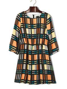 DECEIVE.. - チェック柄 タックプリーツ七分袖ドレス