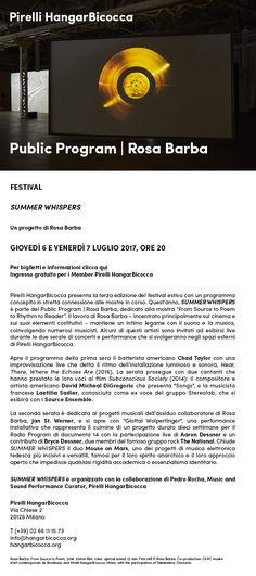 Giovedì 6 e venerdì 7 luglio 2017, ore 20   Festival   SUMMER WHISPERS. Un progetto di Rosa Barba