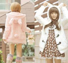 New Women's Girls Cute Warm Bunny Ears Sherpa Hoodie Jacket Coat Outerwear 2 colors