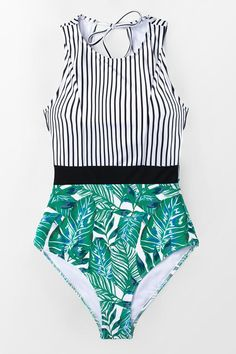 65accba8f5 Cupshe - Live Life On The Beach Tropical Style, Black Stripes, One Piece  Swimsuit