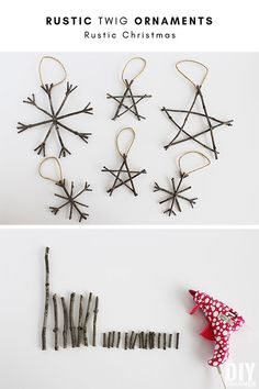 Rustic Twig Ornaments - Christmas ornaments that are super easy to make. A collection of fabulous DIY Rustic Christmas home decor ideas and crafts! Includes a tutorial for Rustic Twig Christmas Ornaments. Twig Christmas Tree, Gold Christmas Decorations, Natural Christmas, Diy Christmas Ornaments, Rustic Christmas, Simple Christmas, Holiday Crafts, Christmas Ideas, Xmas