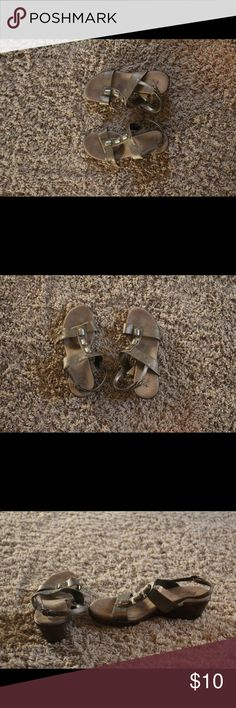 Neutral color wedge sandals with jewels on strap Cute and comfy wedge sandals with three jewels up center strap. These shoes go with almost any outfit. AEROSOLES Shoes Wedges