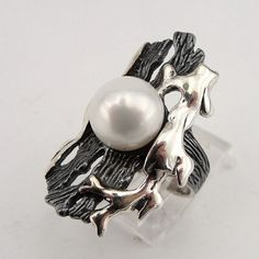 Beautiful Sterling Silver fresh water Pearl Ring size 8 by jewela, $111.00