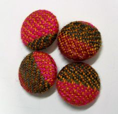 Handwoven Fabric Covered Buttons: Pink Tobacco by mmhandwovens