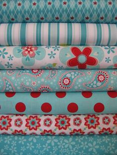 Riley Blake Fabric, Sugar and Spice, Blue in Half Yards, 7 Total