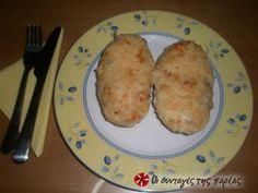 Πατάτες γεμιστές στο φούρνο Appetisers, Salads, Eggs, Favorite Recipes, Meat, Chicken, Vegetables, Cooking, Breakfast