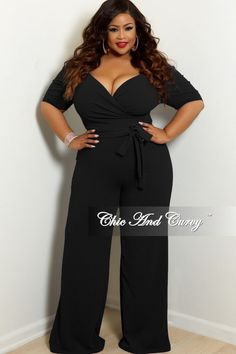 7ebf5b69c82 Plus Size Faux Wrap Jumpsuit with Puff Sleeves and Attached Tie – Chic And  Curvy Curvy