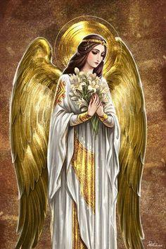Archangel Gabriel in Byzantine style. He is one of my favorite angel. Art by Deva. Angel Images, Angel Pictures, Angels Among Us, Angels And Demons, Gardian Angel, Angel Artwork, Angel Paintings, Angel Warrior, I Believe In Angels