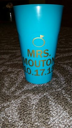 Bride Bachelorette Party Cup Mrs. Ring Silhouette Cameo Vinyl Craft Project