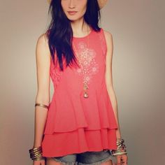 Free People Sleeveless Lace Inset Tank NWOT Sleeveless Lace Inset Tank Berry Pink  Burnt orange top. Heavy linen with lace details Free People Tops Tank Tops