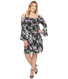 Karen Kane Plus Plus Size Cold Shoulder Flare Sleeve Dress Print - 6pm.com