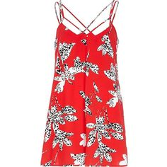 River Island Red floral silhouette print playsuit   ❤ liked on Polyvore (see more River Island)