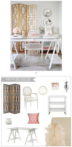 Copy Cat Chic Room Redo | Elegant White Office | Get the look for only $1,730