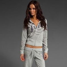 """juicy couture Women's Adorned Monogram Velvet Track Suit - Grey"" love tracksuits!!"