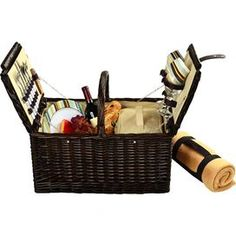 "Handcrafted from willow with a rich chocolate brown finish, this classic picnic basket features an insulated cooler, coffee thermos, and full dining set for 2.    Product: 1 Basket1 Corkscrew1 Cutting board1 Cheese knife1 Salt shaker1 Pepper shaker2 Wine glasses2 Plates2 Spoons2 Knives2 Forks2 Napkins2 Mugs1 Blanket1 Coffee thermosConstruction Material: Canvas, wood, stainless steel, acrylic, melamineColor: MultiDimensions: 17"" H x 20"" W x 13.5"" D"