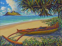 Canoe in the Shade, Lanikai by Russell Lowrey