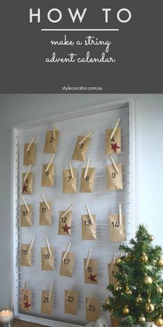 Make a stylish minimalist advent calendar using a timber box frame, string and pegs to hang paper packets. Find the full tutorial by clicking the image above.