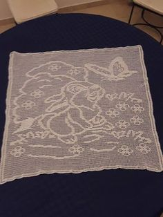 Crochet filet baby blanket with Thumper work photo by Facebook User Mario Gatti
