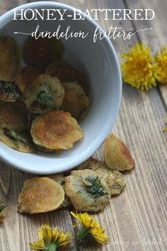 Honey-Battered Dandelion Fritters | Growing Up Herbal | Enjoy some of spring's goodness. Eat wild dandelion flowers in my version of this most famous recipe.