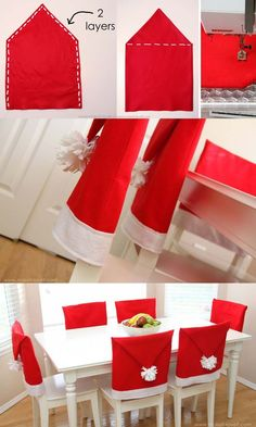 How to decorate a small living room for Christmas - Santa Hat Chair Covers Simple Christmas, Christmas Home, Christmas Crafts, Homemade Christmas Decorations, Xmas Decorations, Christmas Chair Covers, Small Room Decor, Christmas Living Rooms, Diy Wall Shelves