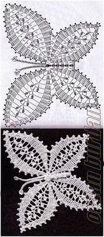 Crochet butterfly- Mariposa tejida a crochet Crochet butterfly - Art Au Crochet, Crochet Motifs, Crochet Diagram, Thread Crochet, Love Crochet, Irish Crochet, Crochet Doilies, Crochet Flowers, Crochet Stitches