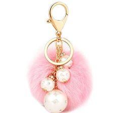 Pearl pom pom bag charm