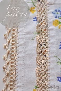 Crochet border patterns by Anabelia by qingqing Crochet border ideas: pretty lace crochet edging ideas for towels, pillowcases, etc. Two crochet edgings by Anabelia ~ free pattern Left one would look great doubled, back to back with tila beads to design b Crochet Border Patterns, Crochet Boarders, Crochet Lace Edging, Thread Crochet, Crochet Trim, Filet Crochet, Knit Or Crochet, Crochet Crafts, Crochet Stitches