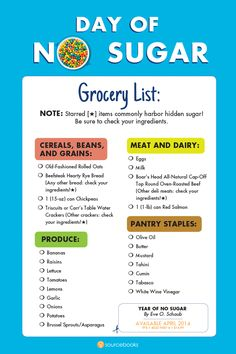Could you go a year without sugar? Try just a DAY with this grocery list and recipes. I have gone sugarless and in just under 3 weeks, I have lost 15 lbs. ! I am on my way to losing a total of 60 lbs.