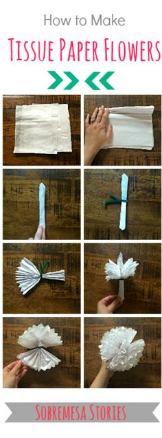 How to Make Tissue Paper Flowers - Step by Step Tutorial with pictures.  Great Cinco de Mayo craft!