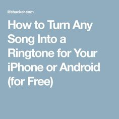 Nokia may have released a dubstep version of their iconic ringtone, but undoubtedly the coolest ringtone you can have is one you made yourself. Here& how to turn any into a ringtone for free on both the iPhone and Android. Cell Phone Hacks, Iphone Life Hacks, Smartphone Hacks, Android Phone Hacks, Iphone Tricks, Android Phones, Android Art, Android Watch, Dubstep